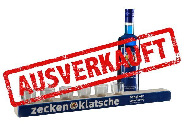Schalke-Schnaps Zeckenklatsche mit Impfbuddel